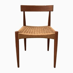 Danish Teak & Paper Cord Dining Chairs by Arne Hovmand-Olsen for Mogens Kold, 1960s, Set of 4