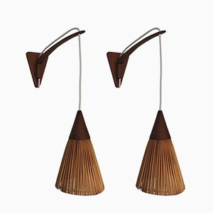 Danish Modern Teak Wall-Mount Swing-Arm Lamps, 1960s, Set of 2