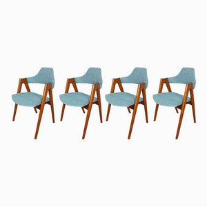 Stühle aus Teak mit Kompassfüßen von Kai Kristiansen für SVA Møbler, 1950er, 4er Set