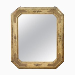 Specchio da parete antico in legno dorato, metà XIX secolo