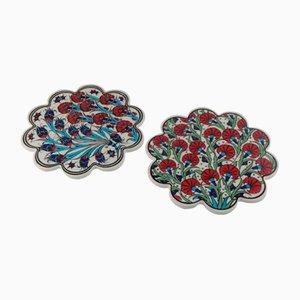 Vintage Turkish Ceramic Coasters, 1970s, Set of 2