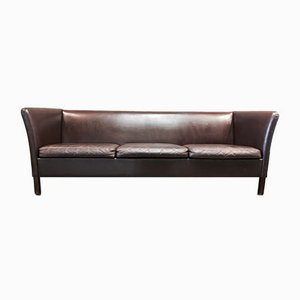 Scandinavian Brown Leather 3-Seater Sofa, 1950s
