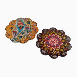 Vintage Turkish Handmade Floral Ceramic Coasters, 1970s, Set of 2