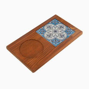 Vintage Turkish Ceramic Tile and Pine Coaster Board, 1970s