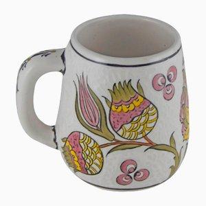 Taza de café turca vintage floral de cerámica pintada a mano, años 70