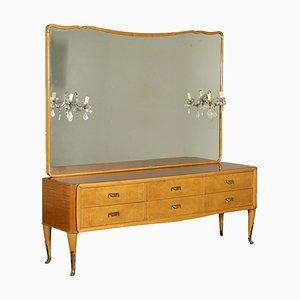 Tocador de chapa de nudo de caoba con espejo, años 50
