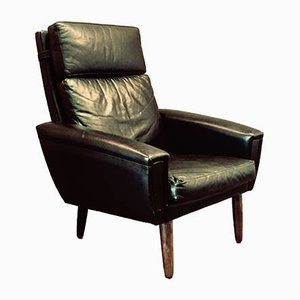 Scandinavian Black Leather Lounge Chair, 1950s