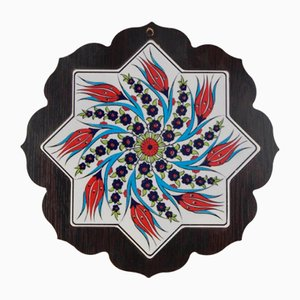 Vintage Turkish Ceramic Wall Hanging with Wooden Frame, 1970s