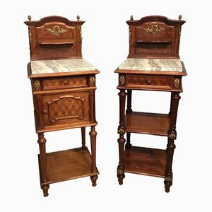 Antique French Mahogany and Ormolu Mounted Bedside Cabinets, Set of 2