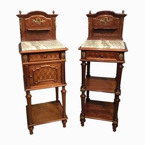 Tables de Chevet Antiques en Acajou et Or Moulu, France, Set de 2