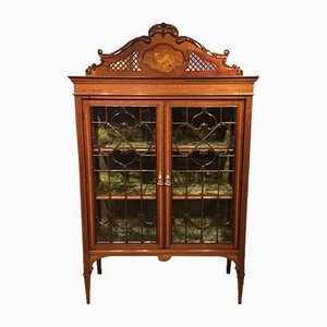 Edwardian Mahogany Inlaid China Cabinet, 1900s