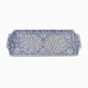Plato turco de cerámica con motivos florales en azul, años 70