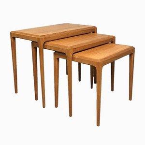 Tables Gigognes en Teck par Johannes Andersen pour Silkeborg Møbelfabrik, 1960s, Set de 3