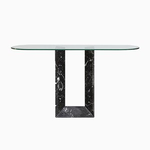 Italian Black Marble Console Table from Fontana Arte, 1980s