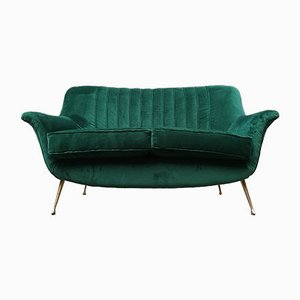 Green Velvet Sofa with Brass Legs, 1950s