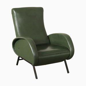 Butaca reclinable italiana de cuero sintético con relleno de espuma, años 60