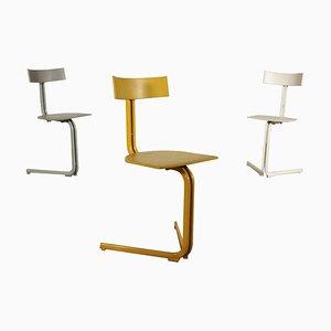 Chaises d'Appoint en Métal Laqué et Plastique, Italie, 1980s, Set de 3