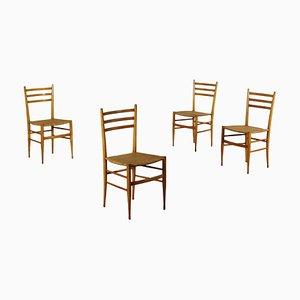 Italienische Vintage Stühle aus Buche, 1950er, 4er Set