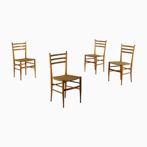 Vintage Italian Beech Chairs, 1950s, Set of 4