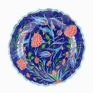 Plato mural turco artesanal en azul turquesa, años 70