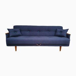 Vintage Danish Beech, Teak, and Fabric Sofa, 1960s