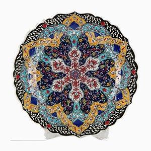 Plato o bandeja decorativa turca de cerámica hecha a mano, años 70