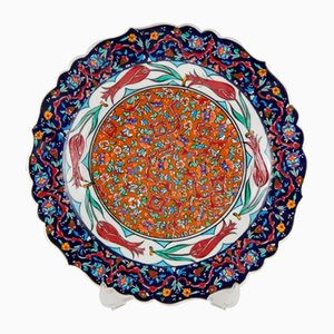 Mehrfarbiger handgefertigter türkischer Keramikteller, 1970er
