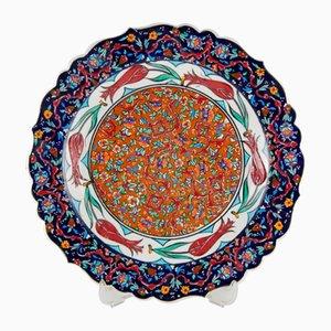 Piatto artigianale in ceramica multicolore, Turchia, anni '70