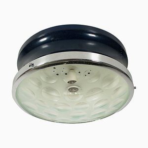 Italienische Vintage Deckenlampe aus beschichtetem Metall & Glas, 1960er