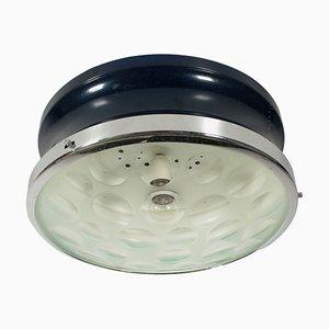 Lámpara de techo italiana vintage de vidrio y metal recubierto, años 60
