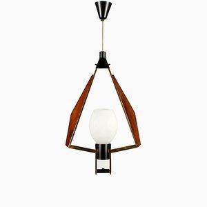 Lámpara de techo italiana vintage de metal y caoba, años 60