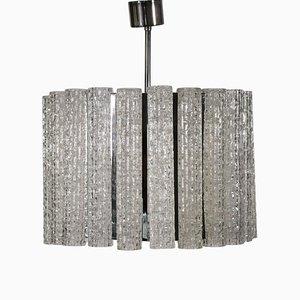 Lámpara de techo italiana vintage de vidrio y metal, años 60