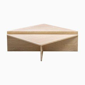 Tavolini da caffè triangolari postmoderni in travertino, anni '70, set di 2