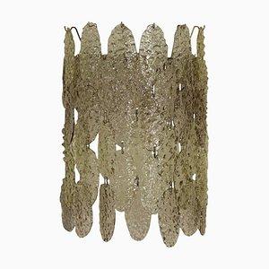 Lámpara de pared italiana vintage de metal y cristal, años 60