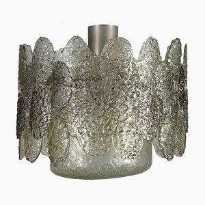 Lámpara de techo italiana vintage de metal y cristal, años 60