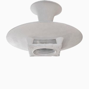 Lámpara de techo Art Déco blanca, años 40