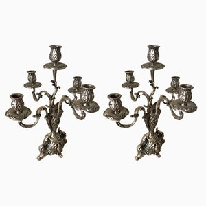 Antique Silver Metal Candleholders, Set of 2