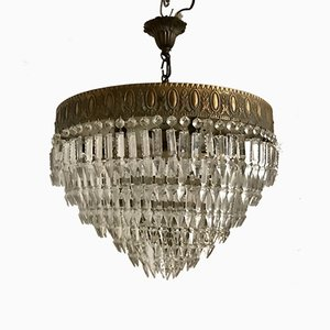 Art Deco Italian Crystal Flushmount Chandelier with 6 Lights, 1940s