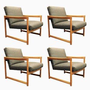 Sessel mit grau-schwarzem Bezug im skandinavischen Design, 1950er, 4er Set