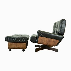 Rosewood Model 401 Leather Lounge Chair & Ottoman by M. Taro for Cinova, 1960s