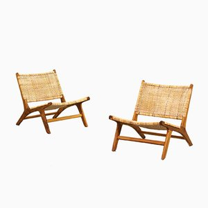 Vintage Danish Cane Lounge Chairs, 1960s, Set of 2