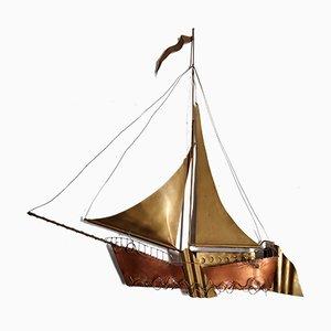 Lámpara de pared escultural en forma de velero grande de Daniël Dhaeseleer, años 70