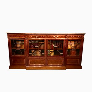 Edwardian Mahogany Inlaid Breakfront Bookcase from Shoolbred of London