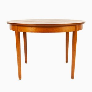 Vintage Danish Round Teak and Veneer Extendable Dining Table, 1960s