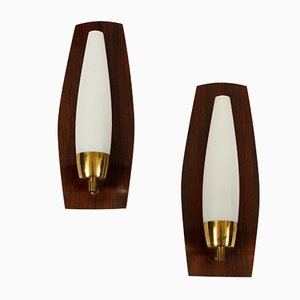 Vintage Danish Teak, Brass, and Opal Glass Wall Lamps, 1960s, Set of 2