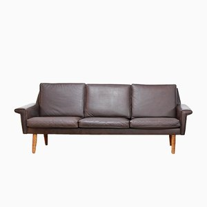 Danish Brown Leather Sofa from Vejen Polstermøbelfabrik, 1960s