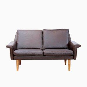 Sofá de dos plazas danés de cuero marrón de Vejen Polstermøbelfabrik, años 60