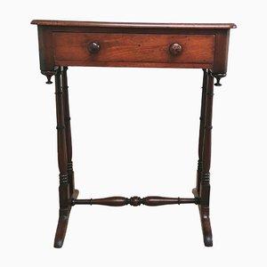 Table d'Appoint Antique en Acajou avec Tiroir