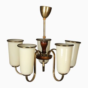 Art Deco Chandelier with 5 Tulip Lampshades, 1920s
