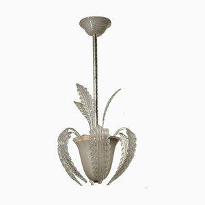 Lámpara de araña italiana de vidrio esmerilado, años 40